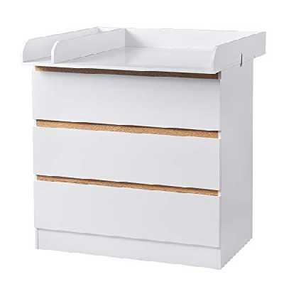 WOLTU Table à Langer avec 3 tiroirs Meuble à Langer pour bébé en aggloméré et MDF,Blanc WT002+WT003