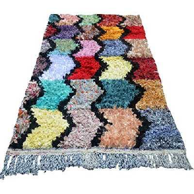 Tapis boucherouite marocain vintage authentique - Unique avec motif zigzag shaggy 6 rangs en multicolore 190 x 110 cm + 15 ans B3