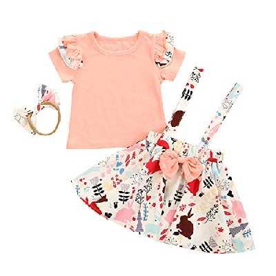 Carolilly Ensemble de 3 pièces pour bébé fille de Pâques avec imprimé lapin T-shirt manches courtes + jupe courte + nœud robe élégante fille d'été, rose, 2-3 ans