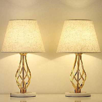 LIANTRAL Lot de 2 lampes de chevet dorées - Lampe de table moderne pour chambre à coucher, salon - Cadeau idéal avec socle en marbre et abat-jour en toile