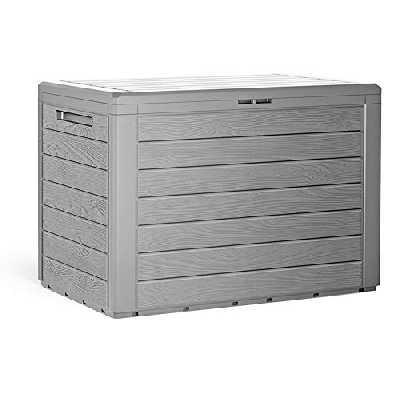 Deuba Coffre de Rangement en Plastique Aspect Bois avec poignées rabattables - Coffre de Balcon - Boîte de Rangement pour Coussins de Jardin - Gris
