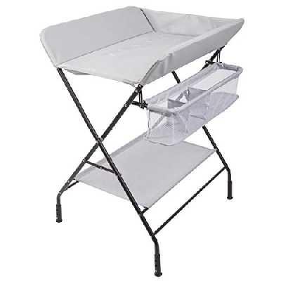 ONVAYA® Table à langer pliable | Commode à langer avec coussin | Peu encombrant et mobile | Combinaison à langer avec plateau et panier de rangement (barre de mesure)