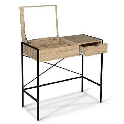 IDMarket - Coiffeuse Luis Miroir Rabattable Design Industriel