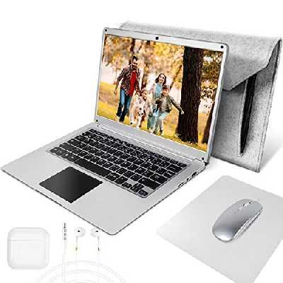 NBD 14 Pouces Ordinateur Portable,Windows 10 Netbook,14,1'' 1080P Full HD IPS Laptop ,Intel Celeron N3350 4 Go RAM 64 Go Stockage Argent Clavier Français