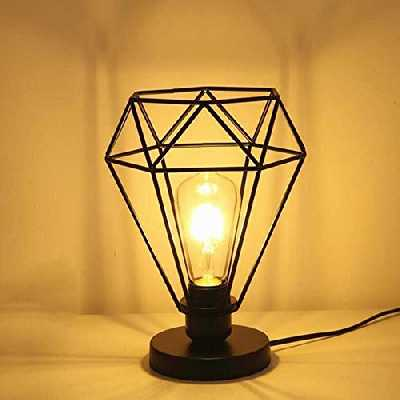 Chao Zan moderne industrielle Cage de diamant Lampe de table, lampadaire avec Vintage design Industriel, lampe de chevet, lampe de table,no ampoules,Noir, Douille : E27,pour salon,chambre et bureau