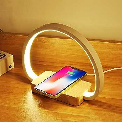Lampe de Chevet Chargeur sans Fil, Lampe de Table Tactile avec Port USB, Lampe de Bureau LED avec 3 Niveaux de Luminosié et Gradation Continue pour Lecture, le Chevet, la Chambre, le Salon, le Bureau