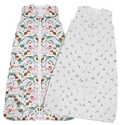Lictin Gigoteuse Ete - Lot de 2 Gigoteuse Bebe Fille Garcon 0,5 Tog, Turbulette Ete Pyjama d'été sans Manches, Longueur Ajustable de 62 à 83 cm pour Bébé de 3 à 18 Mois (M)