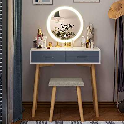 Tiptiper Coiffeuse avec Un Mode d' Éclairage de 3 Couleurs, Ensemble de Coiffeuse avec Miroir LED, Tabouret, 3 Tiroirs, Table de Maquillage pour Fille Femme, Style Moderne, Blanc