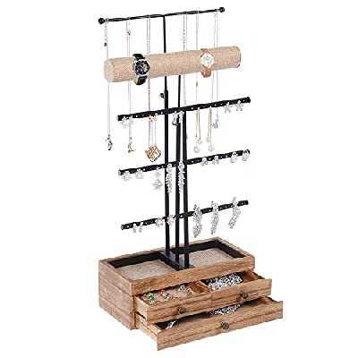 Porte-bijoux, Présentoir, Organisateur de coiffeuse, avec 3 tiroirs en bois, 26 x 13 x 40-55 cm, barres en métal, pour bracelets, colliers, bagues, boucles d'oreilles, Noir et Marron Noisette SSJ001B
