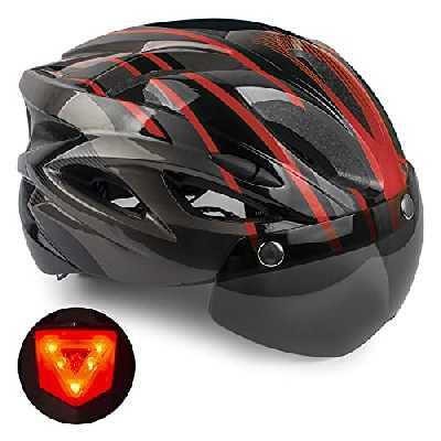 Casque de vélo, KINGLEAD Casque de vélo certifié CE Casque de vélo Adulte avec feu arrière de sécurité à LED Casque Cyclisme sur Route avec visières Amovibles VTT réglable Hommes Casque Femmes Casque