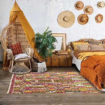 Tapis Style Berbère 140x230 cm Rectangulaire BERBERE AZILAL 22 Multicolore Salon Noué Main