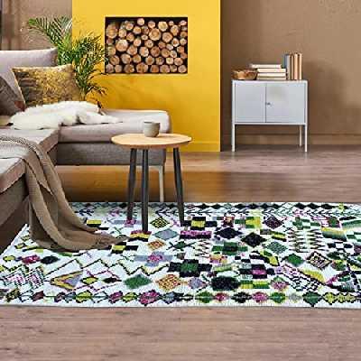 Tapis Style Berbère 145x230 cm Rectangulaire BERBERE AZILAL 15 Multicolore Salon Noué Main