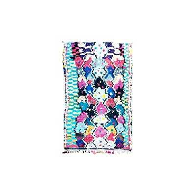 Tapis marocain Boucherouite (212 x 118 cm) fait main - Tapis boucherouite berbère - Pour salon, salle à manger, chambre d'amis, chambre d'enfant