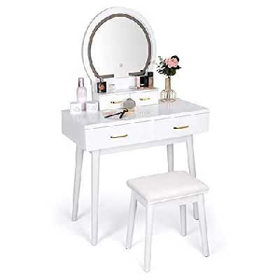 Coiffeuse, Coiffeuse avec Miroir, LED Coiffeuse Éclairée, 3 Modes de Couleur, Luminosité Réglable, 4 Tiroirs, Table de Maquillage avec Tabouret Rembourré (Blanc)