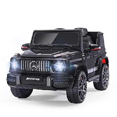 Véhicule Électrique Enfant sous Licence Mercedes-Benz AMG G63, Voiture Électrique 12 V, Télécommande de Voiture Électrique / 2+1 Vitesses / Klaxon / LED / Musique / USB pour Garçons, Filles (Noir)