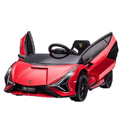HOMCOM Voiture électrique Enfants de Sport Supercar 12 V - V. Max. 8 Km/h Effets sonores + Lumineux Rouge