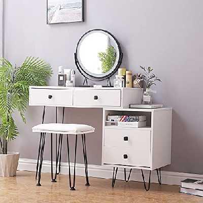 Coiffeuse, Coiffeuse avec Miroir, LED Coiffeuse Éclairée, 4 Tiroirs, Table de Maquillage avec Tabouret Rembourré