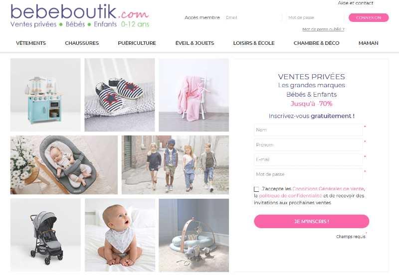 Bebeboutik vente privee puericulture